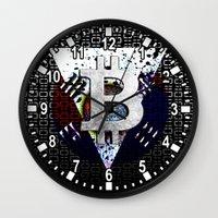 korea Wall Clocks featuring bitcoin south korea by seb mcnulty
