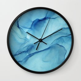 Blue Marble Waves Ink Painting Wall Clock