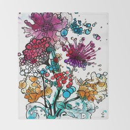 Floral watercolor abstraction Throw Blanket