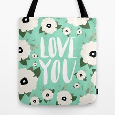 Love you Floral - Turquoise Tote Bag