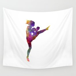 Woman boxer boxing kickboxing silhouette isolated 01 Wall Tapestry