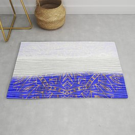 385 Blue Gold White Abstract Mandala Rug