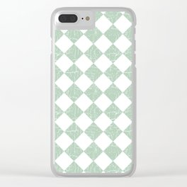 Rustic Farmhouse Checkers in Sage Green and White Clear iPhone Case