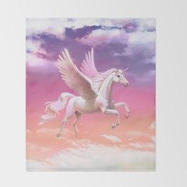 Flying unicorn at sunset Throw Blanket