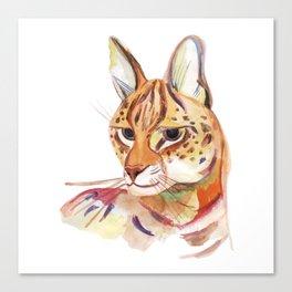 Serval wild cat watercolor Canvas Print
