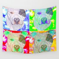 pitbull Wall Tapestries featuring Pitbull Pop Art Warhol Style by Just Bailey Designs