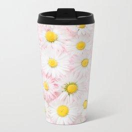 White Daisy Metal Travel Mug