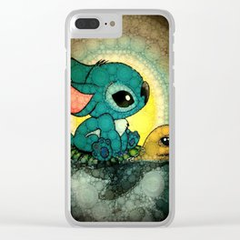 Stitch and Turtle stained glass Clear iPhone Case