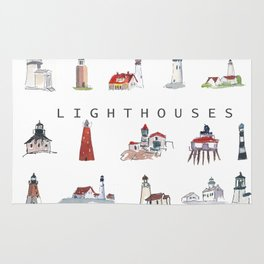 Collection of Lighthouses around the World Rug