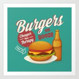 Burgers and Booze Art Print