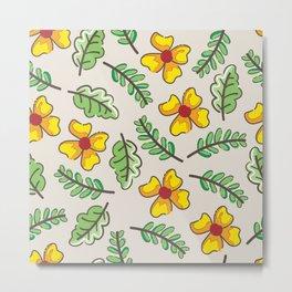 Yellow Flowers Garden Metal Print