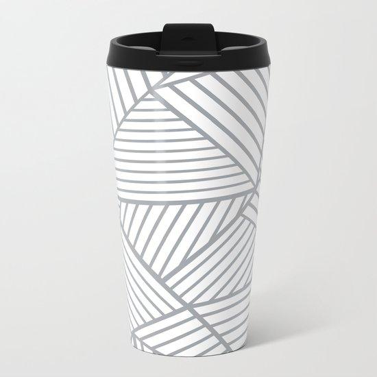 Abstraction Lines Zoom Grey Metal Travel Mug