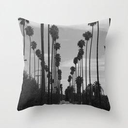 Vintage Black & White California Palm Trees Photo Throw Pillow