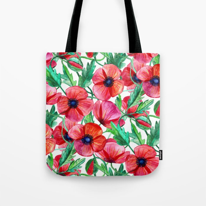 Plenty of Poppies - white Tote Bag