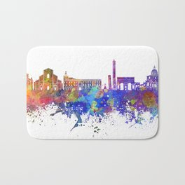 Bologna skyline in watercolor background Bath Mat