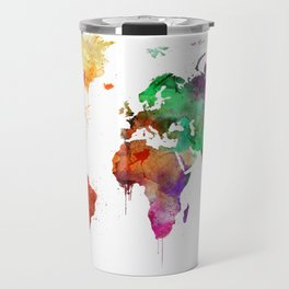 Watercolor World Map Travel Mug