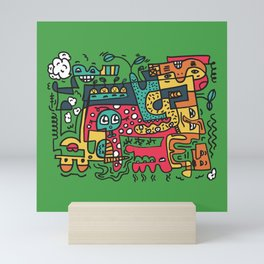 Green Doodle Monster World by Pablo Rodriguez (Pabzoide) Mini Art Print