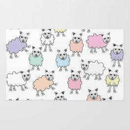 Colorful Counting Sheep Bedtime Pattern Rug