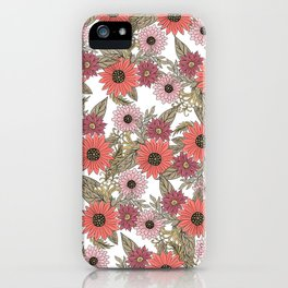 Girly blush pink coral gold modern floral iPhone Case