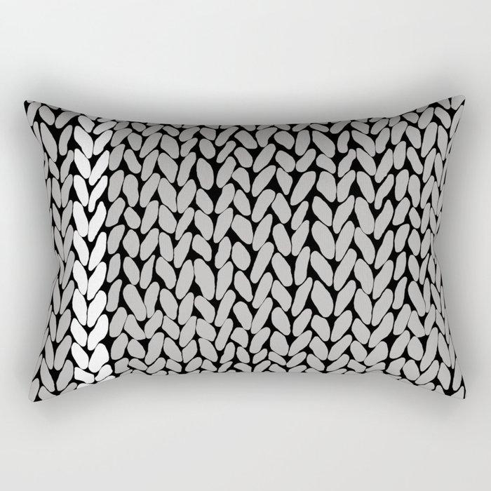 Grey Knit With White Stripe Rectangular Pillow