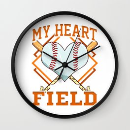 My Heart Is On That Field Baseball Player Fans Wall Clock