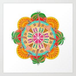 Summer Mandala on white Art Print