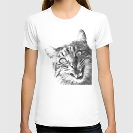 Black and White Happy Cat T-shirt