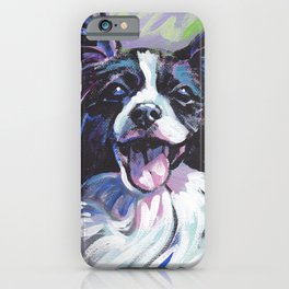 Papillon Fun Dog bright colorful Pop Art Painting by LEA iPhone Case