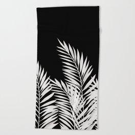 Palm Leaves White Beach Towel