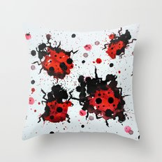 Splattered bugs Throw Pillow