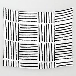 Modern black white watercolor paint brushstrokes Wall Tapestry