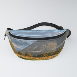 New Zealand South Island Landscape With Sheep Panorama Fanny Pack