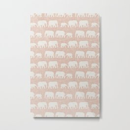 elephant march - blush Metal Print