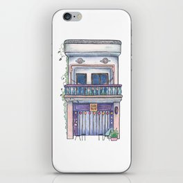 Cambodia travel sketch - vintage house in Kampot town iPhone Skin
