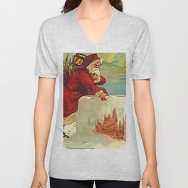 Santa Stepping Into A Rooftop Chimney Unisex V-Neck