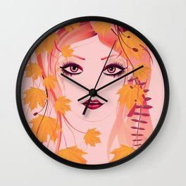 Autumn floral girl Wall Clock
