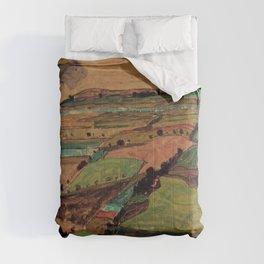 Rolling Plains at Harvest on the tartan hillsides landscape painting by Egon Schiele Comforters