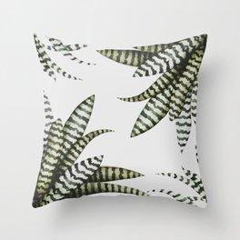 Zebra Stripe Bromeliad Throw Pillow