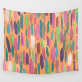 Colorful Dots on Orange Background Abstract Wall Tapestry