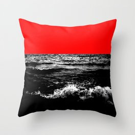 Black Wave w/Electric Red Horizon Throw Pillow
