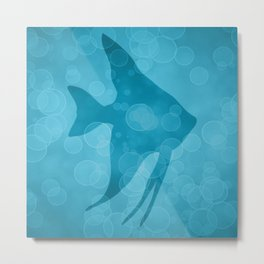 Angelfish in Frozen Blue Metal Print