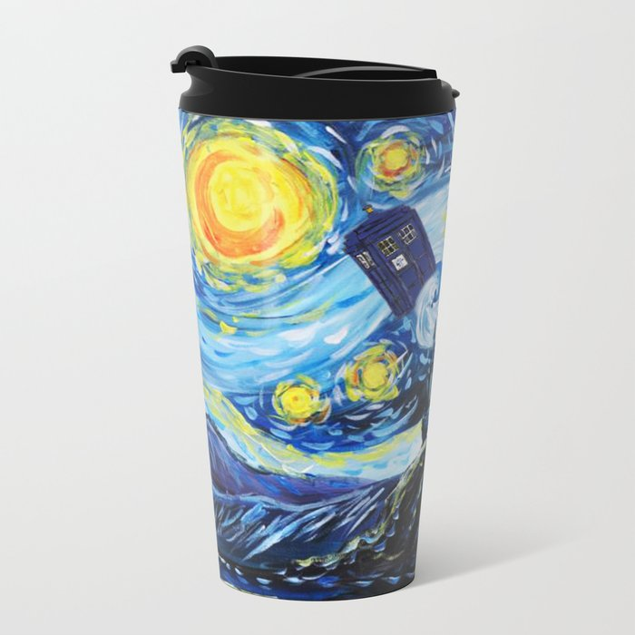 Tardis Starry Night Castle Metal Travel Mug