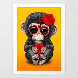 Red and Yellow Day of the Dead Sugar Skull Baby Chimp Art Print