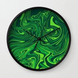 Green emerald abstract marble Wall Clock