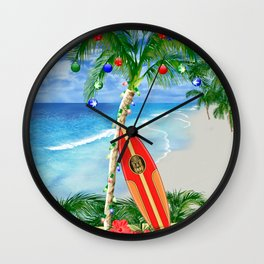 Beach Christmas Wall Clock