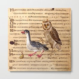Medieval Owl Duck And Snail Metal Print