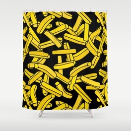 French Fries on Black Shower Curtain