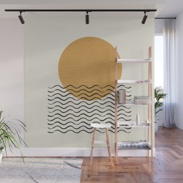 Ocean wave gold sunrise - mid century style Wall Mural