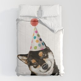 Black Shiba Inu with Party Hat Comforters