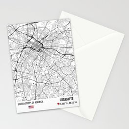 Charlotte, USA Road Map Art - Earth Tones Stationery Cards